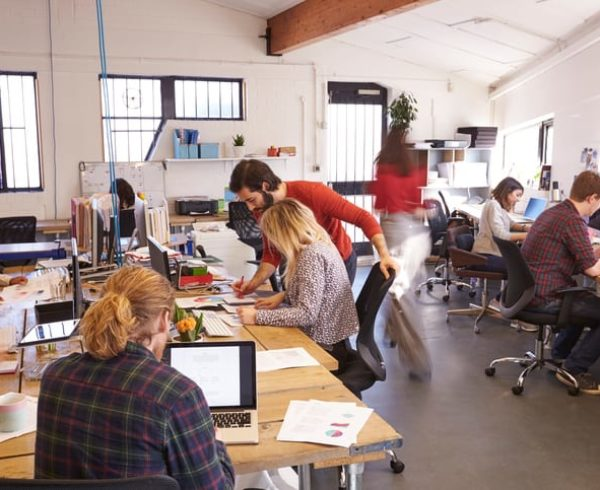 Startup team working in an office